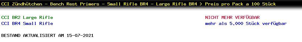 Lagerbestand CCI BR Primer